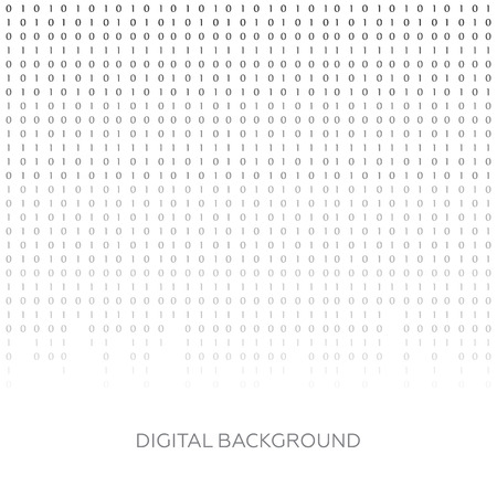 cryptogram: Binary code black and white background with digits on screen. Algorithm binary, data code vector Illustration