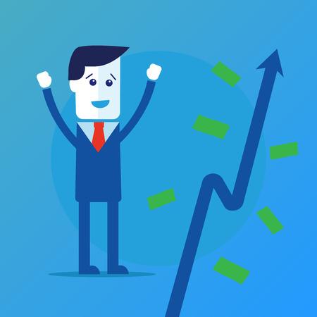 crop margin: Businessman and money tree