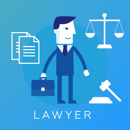 solicitor: lawyer, attorney or jurist concept Illustration