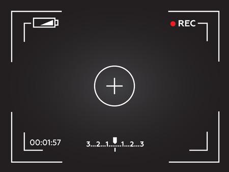 focusing: Camera viewfinder. Template focusing screen of the camera. Viewfinder camera recording. Video screen