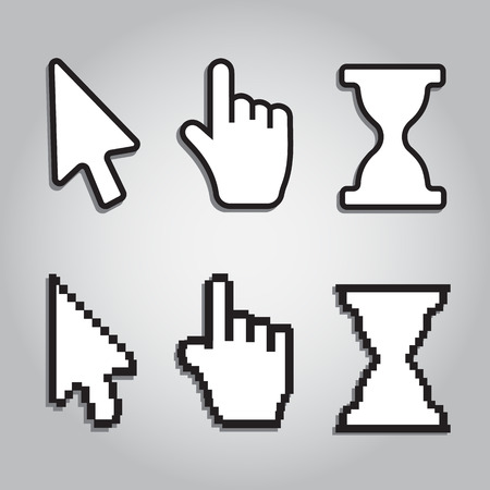 help section: Pixel cursors icons mouse hand arrow and time Illustration