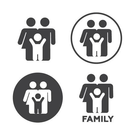 black family: Family icons set vector illustrator. Family black