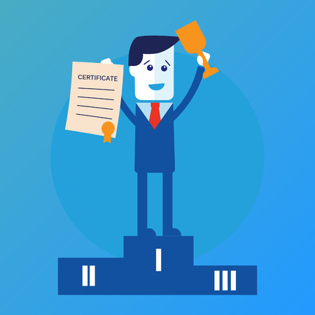 rewarded: Businessman winner standing in first place Illustration