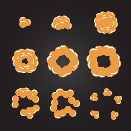 disappearance: Explode effect animation with smoke. Cartoon explosion frames