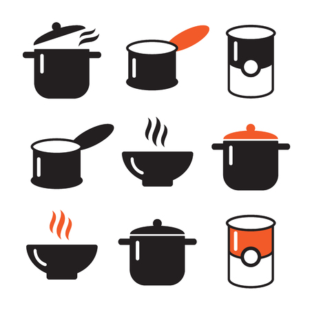 broth: Color soup vector illustration icons set