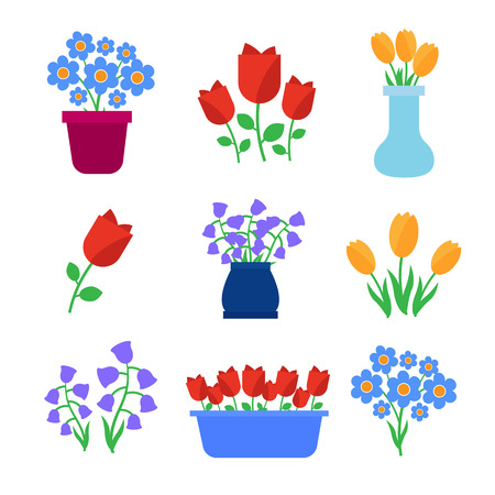 Cute spring flowers in pots vector Иллюстрация