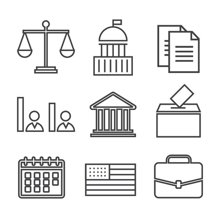 Voting and elections linear icons. Government political