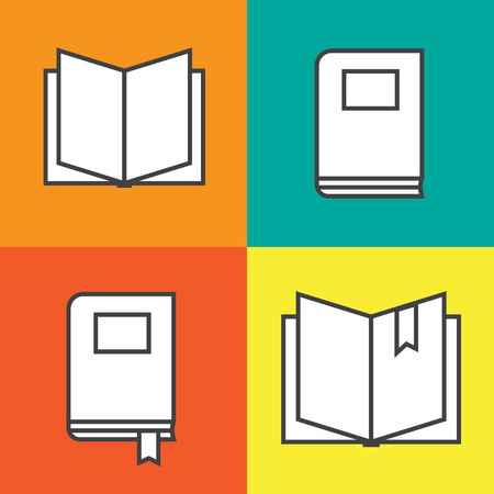Book icons in colored flat line style