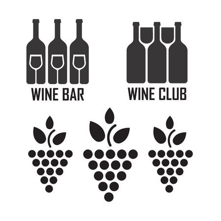 sommelier: Wine black icons on white background set