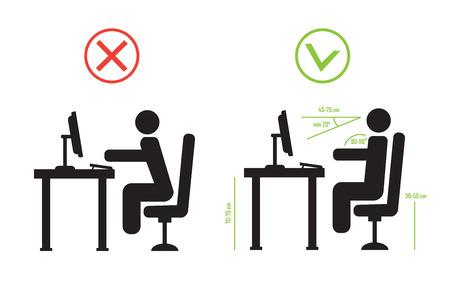 columna vertebral sentado postura correcta y el mal. Vector diagrama eps10