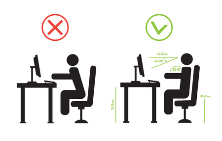 Correct and bad spine sitting posture. Vector diagram eps10 Ilustração
