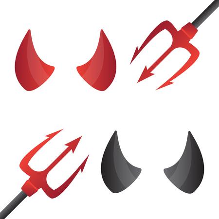 cuernos: los cuernos del diablo rojo y negro. Cuerno mal, cuerno demonio eps10
