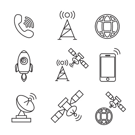 broadcasting: Satellite icons vector. Satellite communication, wireless satellite, connection satellite technology eps10