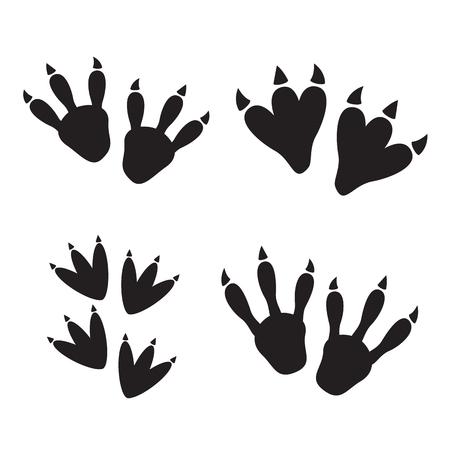 Dinosaur footprint tracks vector set illustration