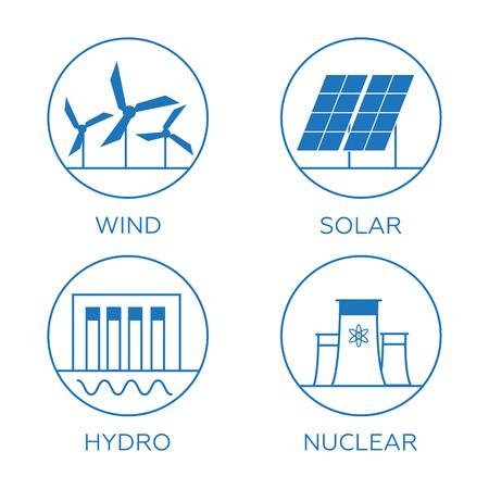 Generation Energiearten. Kraftwerk-Ikonen Vektor