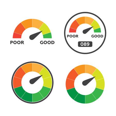 admeasure: Credit score indicators and gauges vector set Illustration