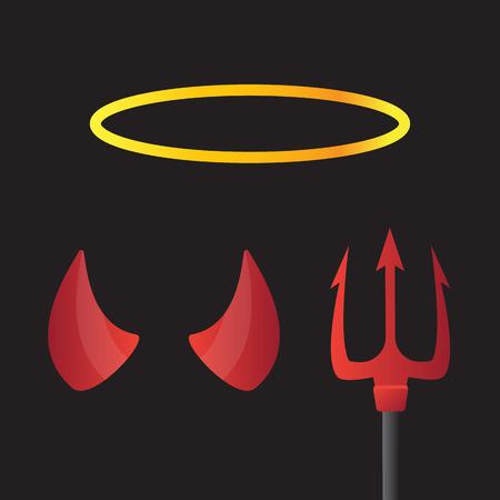 teufel und engel: Teufel Hörner und Engel Halo. Teufel und Engel, Horn und Halo, Dämon Horn Illustration