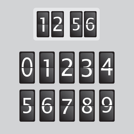 Wall flap counter clock vector template. Time clock