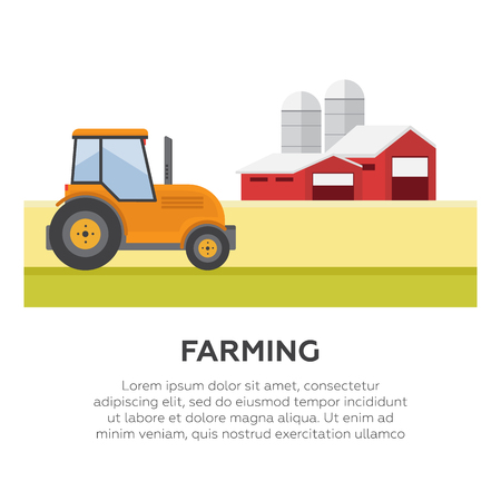 labranza: Farming and agriculture background, tractor and barn