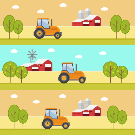 agribusiness: Organic products. Agriculture and Farming. Agribusiness. Rural landscape Illustration