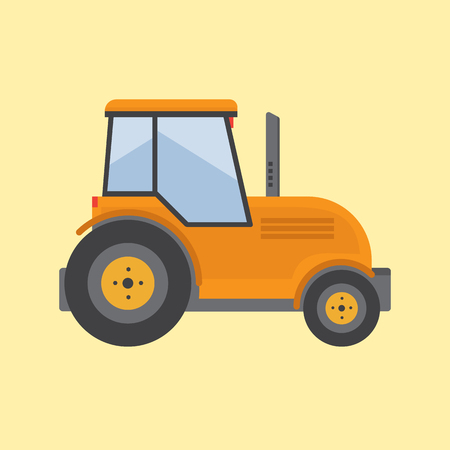 labranza: Tractor. Farmer machine in flat style vector illustration Vectores