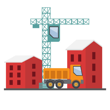 house construction: Under construction. Building a house vector illustration