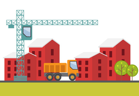 house construction: Construction site, building a house. Vector illustration