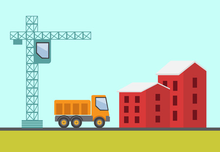 dredger: Construction site, building a house vector flat illustration