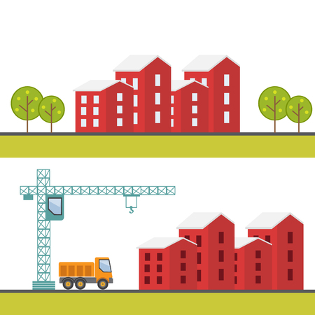 building site: Construction site. Under construction. Building business. Construction industry Illustration