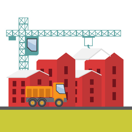 house construction: Construction site, building a house vector flat