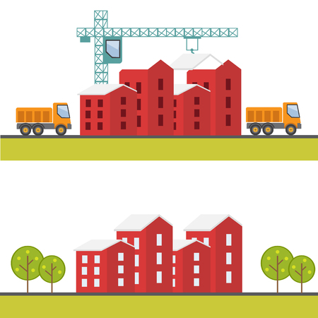 house construction: Construction web site, building a house vector flat Illustration