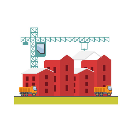 house construction: Construction site, building a house. Under construction Illustration