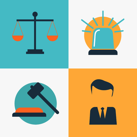 notary: Legal services, law and order, justice vector flat concept set Illustration