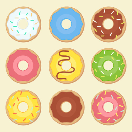fillings: Donuts icons with different fillings Illustration