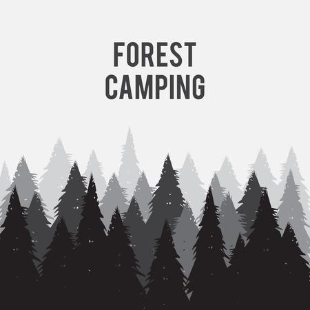coniferous: Coniferous pine forest vector illustration