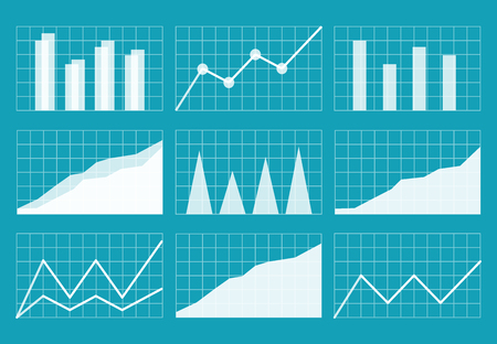financial assets: Business graphics and charts set. Analysis and management of financial assets