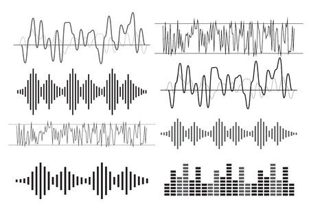Black music sound waves vector illustration  イラスト・ベクター素材