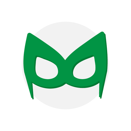 Super hero green mask. Superhero mask for face character in flat style