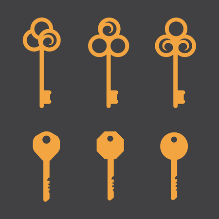 safty: Keys icons set, isolated. Keys signs and symbols collection
