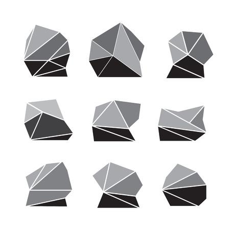 rock stone: Rock stone cartoon in isometric 3d flat style