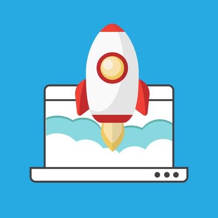 rocketship: Successful startup business concept. Flat vector illustration