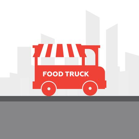 lunch room: Street food van. Fast food delivery. Flat design vector illustration Illustration