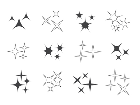 Sparkle lights Stars set. Glowing light effect star