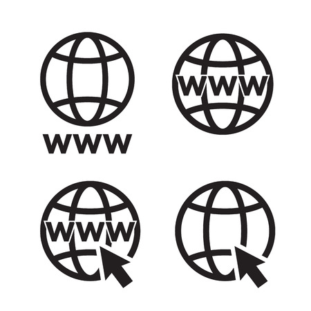 website wide window world write www: Web Icons set, network sign, template design element Illustration