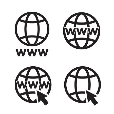 website wide window world write www: Web Icons set, network sign, template design element Illustration