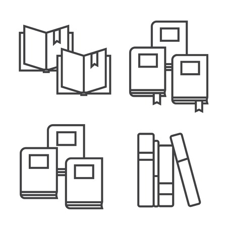 nonfiction: Education icons set, open books