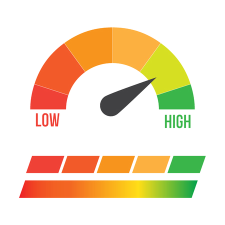 Low, Moderate and High gauges vector