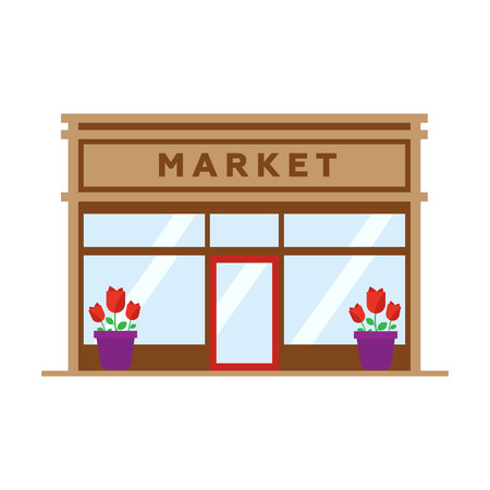 sunblind: Market flat style icon isolated on white Illustration