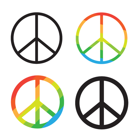 Brightness Rainbow peace symbol on white background Vetores