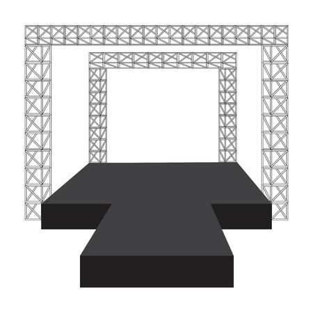 fashion runway: Fashion runway podium stage vector illustration